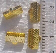 LOT 10 PINCES EMBOUTS FIL CORDON CACHE NOEUDS EN METAL DORE CLAIR 13x8mm *O120