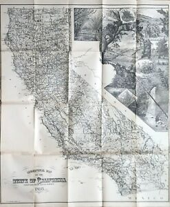 1893 Geographical Map of California - scarce