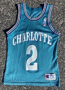 🔥Vintage Champion Larry Johnson Jersey Charlotte Hornets NBA Size 36 Turquoise