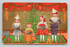 1908 A Merry Xmas Children in Paper Hats Sing Together P. Sander Postcard