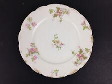 "Antique GDA Limoges Pink Roses Flowers w/ Gold Trim Salad Plate 8"" (buy singles)"