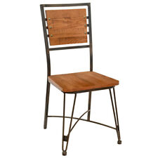 New Canteen Steel Chair with Distressed Solid Oak Wood Seat and Back