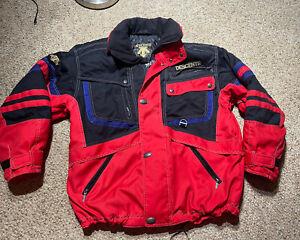 VINTAGE 90s DESCENTE Snowboard Ski Jacket Coat Mens Sz Large RED VENTED W HOOD