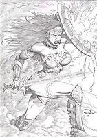WONDER WOMAN by  RON ADRIAN- ART PINUP Drawing  COMIC