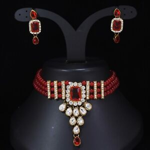 Bollywood Indian Gold Tone Bridal Fashion Jewelry Necklace Earring Set