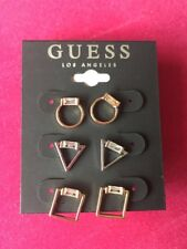 NWT Guess Silver-RoseGold-Gold Metals 3 Pair Different Shaped Earrings Set