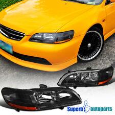 Fits 1998-2002 Honda Accord 2Dr/4Dr DX/EX/LX/SE Black Headlights Driving Lamps