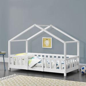 Kinderbett mit Rausfallschutz 70x140cm Haus Holz Weiß Bettenhaus Hausbett Bett