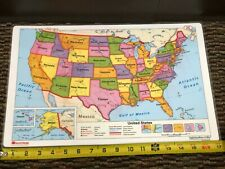 """Pristine 17""""X11"""" Laminated double sided United States 2C & World Map 2D Nystrom"""