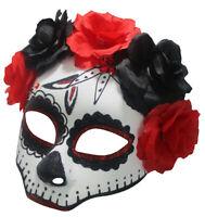 Day of the Dead Floral Rose Glitter Face Mask Dia de los Muertos Sugar Skull