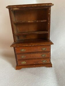 Vintage Miniature Wooden Chest Shelves Chippendale Dollhouse Furniture