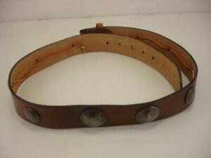 Men's sz 38 40 Vtg Brown Leather Western Belt with Silver Old Coins Half Dollar