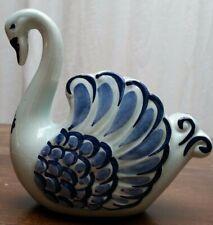Handpainted Blue White Delft Swan Vase Jar Pot