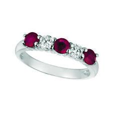1.70 Carat Natural Diamond & Ruby Ring Band 14K White Gold