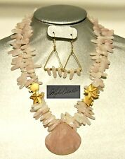 Pink Seas Double Strand Pink Quartz Shell Golden Star&Fish Necklace&Earrings