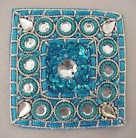 4 Hand-Embroidered, Turquoise, Square Appliques