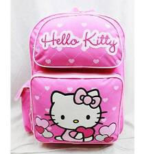 """NWT Hello Kitty 16"""" Large Backpack Bag Pink Heart Style Licensed Sanrio"""