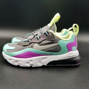 Nike Air Max 270 React Toddler Girl's Shoe Size:9C Grey/Purple/Volt CD2654 007