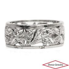 Estate Diamond Platinum Elegant Floral Carved Band Ring 6.2 Grams NR