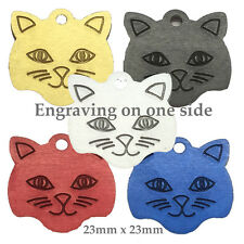 *Cat ID Tag Cat Face  Aluminium with Split Ring 27mm x 20mm FREE ENGRAVING
