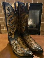 Men's El Dorado Handmade Black Tan Inlay Cowboy Boots Snip Toe RARE SIZE 12D EUC