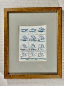 1993 E. Halsey Signed Framed TRANSFORMATIONS Art Print - Book to Bird