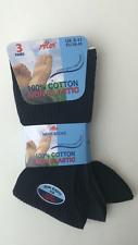 MENS WARM  COTTON NON ELASTIC DIABETIC SOCKS 3 PAIRS BLACK, NAVY,DARK GREY 6-11