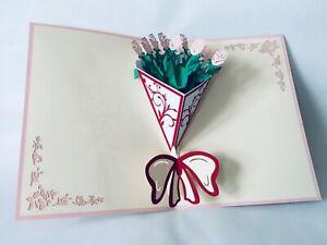 Rosenstrauss, 3D-Klappkarten, Pop-up Karten, Glückwunschkarte, Grußkarte,