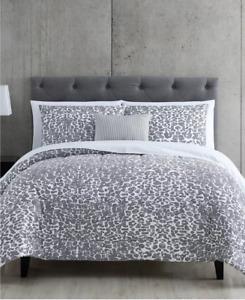 Gray Leopard Print & Reversible Pinstripe CAL KING Comforter Set (12 Piece Set)