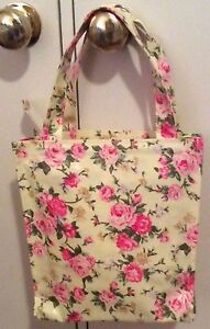Tote Bag Shopping Nappy Knitting Craft Travel Oil Cloth Zip Closure New