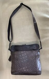 Preowned Tumi Ticon Crossbody Top Zip Brown Leather Bag Tablet Case 31103DBT