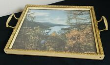 Vintage 60s Kitsch Photo Frame Tea /  Serving Tray, Brass Handles, Glass Topped