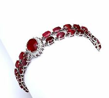23.30Ct Natural Ruby & Diamond 14K Solid White Gold Bracelet