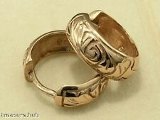 E06 Genuine 9ct SOLID Rose GOLD Wide HUGGIES /Hoop Earrings Belcher Patterned