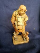 Vintage Anri Wood Carved Man With with hot dog hunter rabbit wiener Figurine