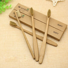 10Pcs Bamboo Toothbrush Wood Handle Khaki Soft Bristles For Adult Oral Care