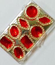 8 Edible Sugar Cake Cupcake Jewels Gem Brooch Diamond Party Decoration RED