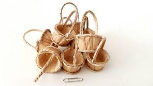 10 Handmade Small Dollhouse Miniature  Round Wicker Basket water hyacinth Supply