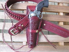 "Leather Gun Belt .38 Caliber w Left Hand Tooled Holster wine Sizes 34"" to 46"""