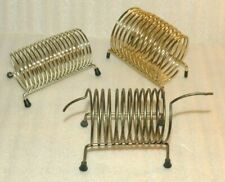 3 VTG Metal Wire Coil Spring Desk Organizer Letter Mail Holder chrome gold tone