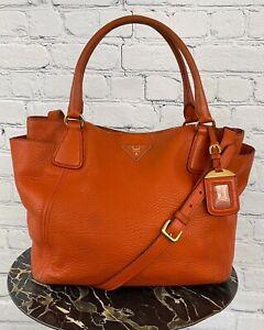 Prada Women's Orange Pebbled Leather Crossbody Tote Bag Handbag Purse