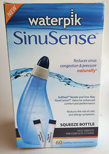 Waterpik SinuSense Squeeze Bottle with 60 Saline Easy-Pour Packs New In Box