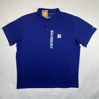 Carhartt Men's XL Blue Short Sleeve Pen Pocket Polo 1/4 Button Work Wear Quality