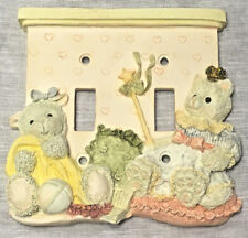 Teddy Bears Playing Princess Ceramic Girl's Room Double Light Switch Cover