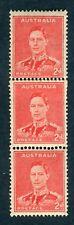 Australia 1937-49. Coil triplet x 2d scarlet (1941). COIL JOIN. MNH. SG 184a.