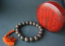 Antique Chinese Carved Agarwood Prayer Beads Bracelet Calligraphy Red Box