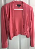 Jessica Howard Sz L Coral Orange Ruffled 3/4 Sleeve Cropped Bolero Sweater