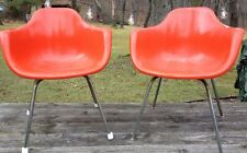 Mid Century Modern Eames Era Style Krueger Fiberglass Shell Arm Chair in Orange