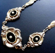 antique Victorian revival GOLD on SILVER black onyx flower pendant necklace N56