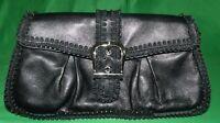 ISABELLA FIORE Black Leather Clutch Handbag